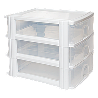 Комод 3 ящика формат А-4 прозрачно-белый