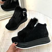 Женские  ботинки AVK зимние натуральная замша черные/ марсала AV0071