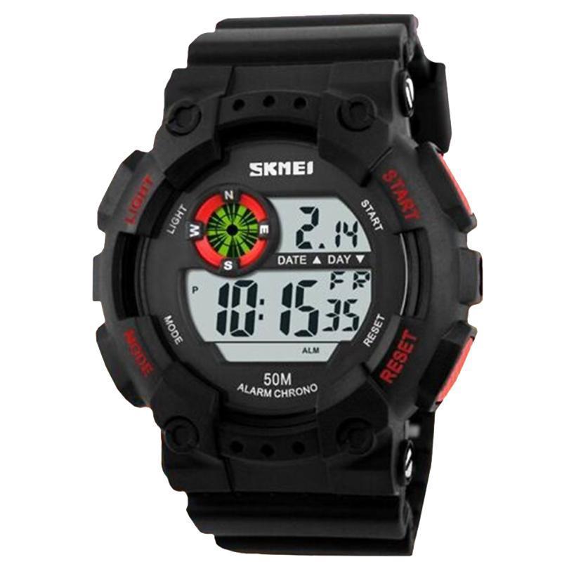 Часы Skmei Мод.1101, черный-красный, в металлическом боксе