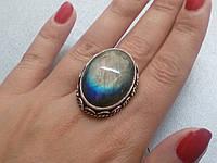 Лабрадор кольцо с натуральным лабрадоритом 20,0-20,5  размер Индия, фото 1
