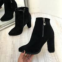 Женские  ботинки AVK осень-весна на каблуке кожа/замша черные/марсала AV0074