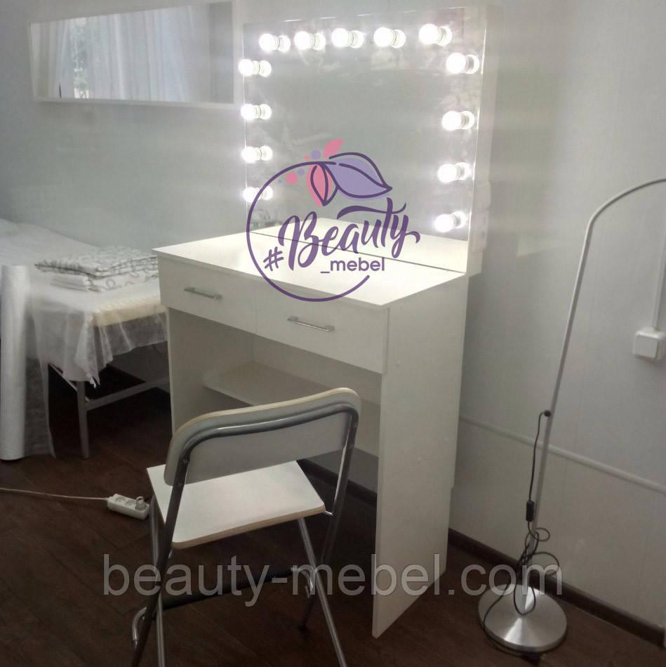 Стол гримерный с высокой столешницей, столик для макияжа с зеркалом и лампами
