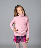 """Свитер """"Гольф"""" Many&Many для девочки бледно-розовый, ажурная кокетка."""