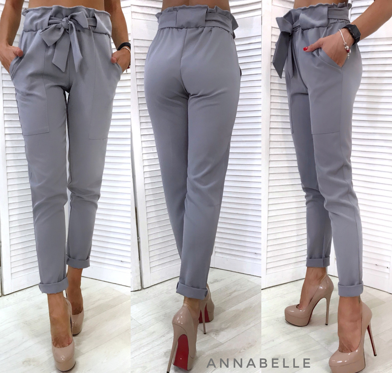 Классические брюки с высокой талией на резинке