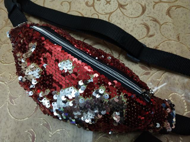 143e22d28e71 Женская сумка барсетка на пояс двойные пайетки красные отличное качество
