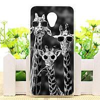 Силиконовый чехол бампер для Meizu M6 с рисунком три жирафа