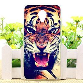 Силиконовый чехол бампер для Meizu M6 с рисунком оскал тигра