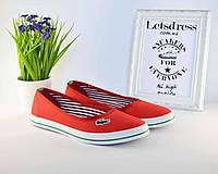 ✅ Балетки кеды слипоны мокасины Лакоста Lacoste красные, фото 1