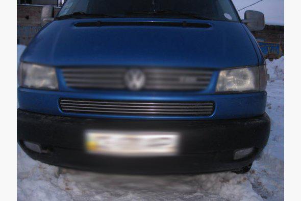Накладки на решетку в бампер косой капот (4 шт, нерж) Volkswagen Transporter T4 1998+