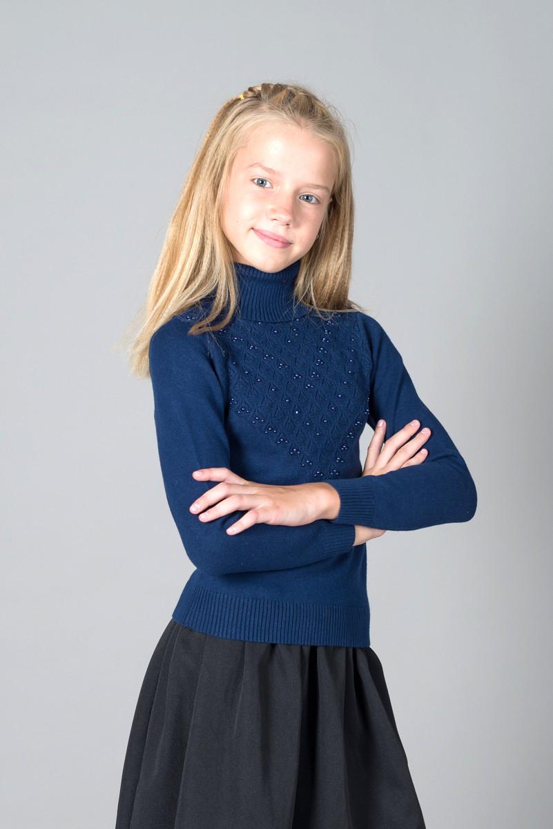 """Свитер """"Гольф"""" Many&Many для девочки синий, ажурная кокетка."""