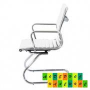 Офисное кресло конфереционное Алабама Х, кожзам, цвет белый