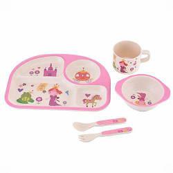 Набор детской посуды бамбуковой Eco Bamboo fibre kids set  5 предметов N02331 Pink