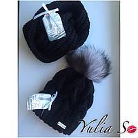 Зимняя вязаная  шапка и хомут. Ручная вязка., фото 1