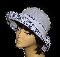 Копия Шляпа женская Маленькая поляна лен бел+ромашка темная