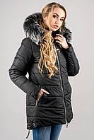 """Зимняя куртка """"Бриана"""" р. 46;48 черный мех серый"""