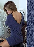 """Стильное платье-туника с длинными рукавами и открытой спиной с кружевом """"Ангелина"""" синее"""