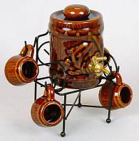 Подарок куму декоративный набор бочка для вина и 4 рюмки