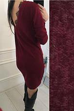"""Красивое короткое платье-туника из ангоры с вырезом и кружевом на спине """"Ангелина"""" зеленое, фото 3"""