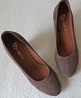 Nona! Женские классические замшевые туфли цвета какао на каблуке 7,5 см , фото 1