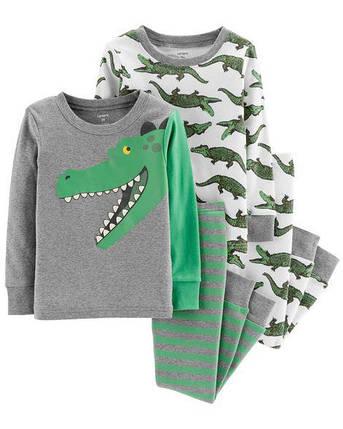 Комплект бавовняних піжам  Алігатор з 4-х частин, фото 2