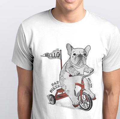 """Футболка чоловіча біла з малюнком """"Собака на велосипеді"""""""