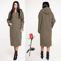 98b919a02a2 Пальто женское демисезонное прямого силуэта с капюшоном F 1120 Хаки