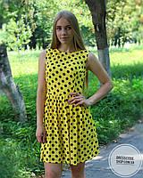 Платье летнее желтое в горошек