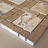 Декоративная мозаика Дюна из травертина полированная, лист 1х30,5х30,5