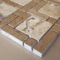 Декоративная мозаика Дюна из травертина полированная, лист 1х30,5х30,5, фото 1