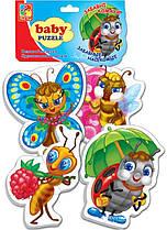 Мягкие Пазлы Пазл Забавные насекомые Vladi Toys 16 эл. набор из 4-х пазлов, VT1106-06, 009184