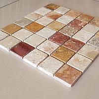 Декоративная мозаика Колизей из травертина полированная, лист 1х25.2х27.2, фото 1
