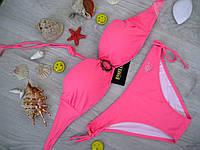 Купальник пляжный молодежный с брошкой, плавки бикини (розовый)