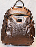 Женский школьный и городской рюкзак из искусственной кожи 25*30 см (бронза)