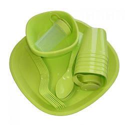Посуд пластиковий набір для пікніка 48 приладів на 6 персон MHZ R86499 Green