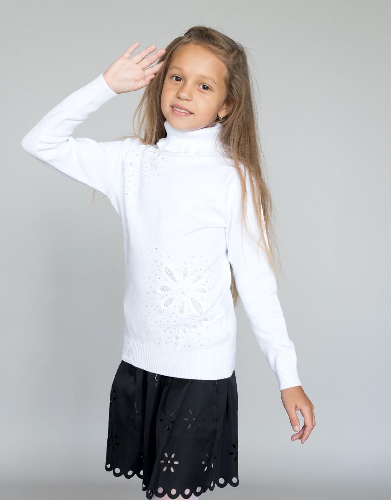 """Свитер """"Гольф"""" Many&Many для девочки белый, Цветок."""