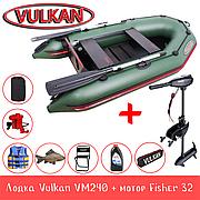 Лодка Vulkan VM240 + мотор Fisher 32 + аккумулятор Fisher 80A