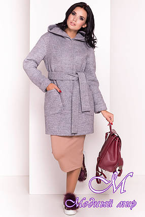 Женское демисезонное пальто серого цвета (р. S, M, L) арт. Анита 3299 - 16833, фото 2