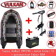 Лодка Vulkan VM240 камуфляж + мотор Fisher 32 + аккумулятор Fisher 80A