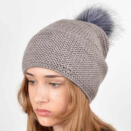 """Вязаная женская шапка """"Doris"""" с меховым помпоном, фото 2"""