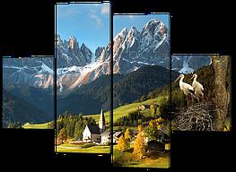 Модульная картина Гнездо аистов в горах