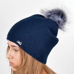 """Вязаная женская шапка """"Doris"""" с меховым помпоном"""