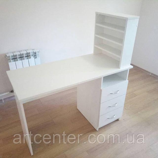 Маникюрный стол, маникюрный белый стол с полками
