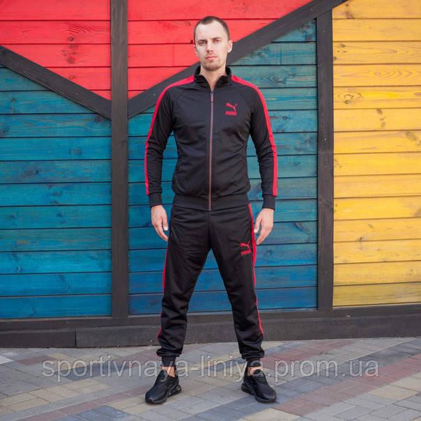 Мужской Спортивный Костюм черный с красной полоской PUMA пума (Реплика)
