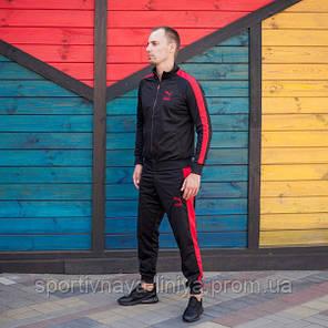Мужской Спортивный Костюм черный с красной полоской PUMA пума (Реплика), фото 2