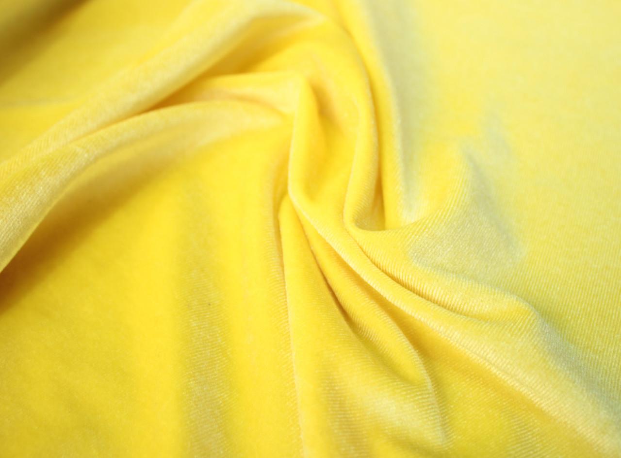 Ткань бархат стрейч желтый