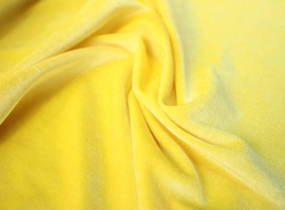 Ткань бархат стрейч желтый, фото 2
