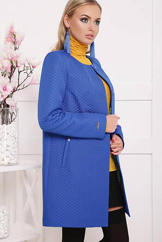 Женское пальто без воротника, электрик в горох, р.42-48, фото 2