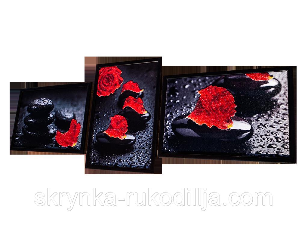 Триптих для вышивки бисером Алая роза