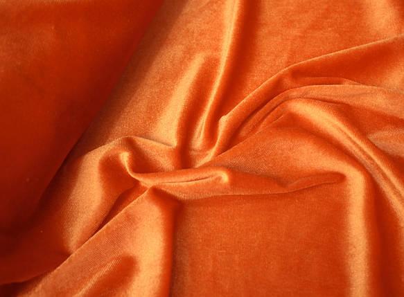 Ткань бархат стрейч оранжевый, фото 2