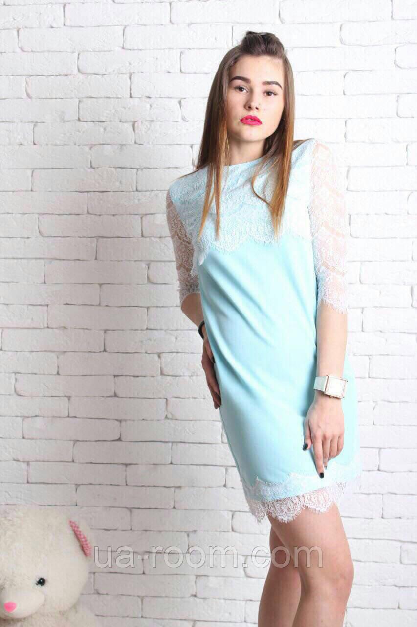 Женское платье хлопок+гипюр №234